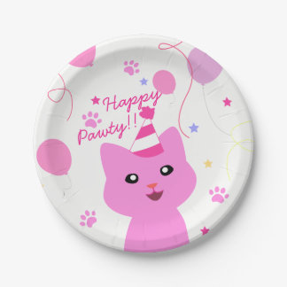 Pink Cat Wishing Happy Pawty Paper Plate