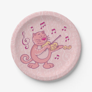 Pink Cat with Violin 7 Inch Paper Plate