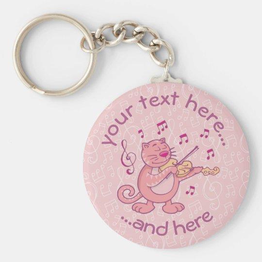 Pink Cat with Violin Basic Round Button Keychain