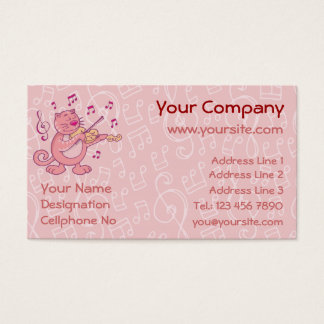 Pink Cat with Violin Business Card
