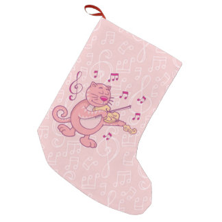 Pink Cat with Violin Handrawn pink cat cartoon pla Small Christmas Stocking