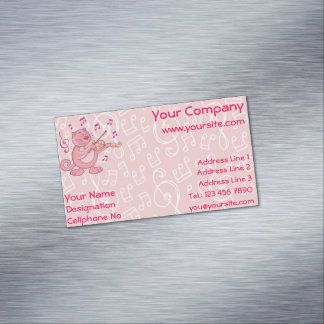 Pink Cat with Violin Magnetic Business Card