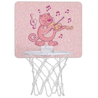 Pink Cat with Violin Mini Basketball Hoop