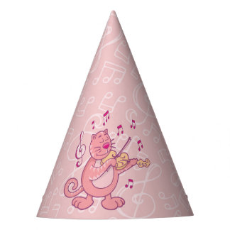 Pink Cat with Violin Party Hat