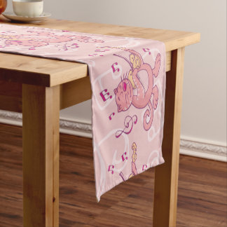Pink Cat with Violin Short Table Runner