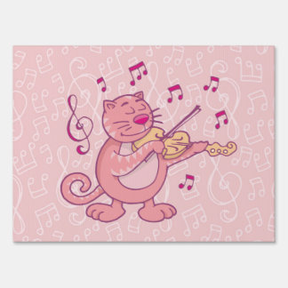 Pink Cat with Violin Sign