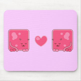Pink cats mouse pad