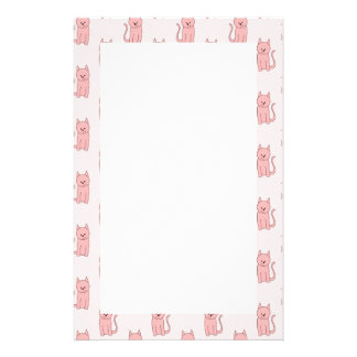 Pink Cats. Pattern Stationery