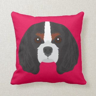 Pink Cavalier King Charles Spaniel Throw Pillow