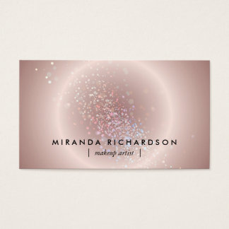 Pink Celestial Confetti Circle Makeup Artist Business Card