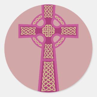 Pink Celtic Cross Stickers