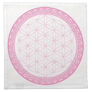 Pink Celtic Flower of Life Crystal Grid for Love Napkin