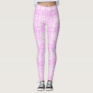 Pink ceramic-look tiled pattern leggings