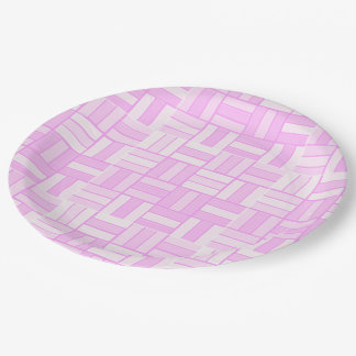Pink ceramic-look tiled pattern paper plate