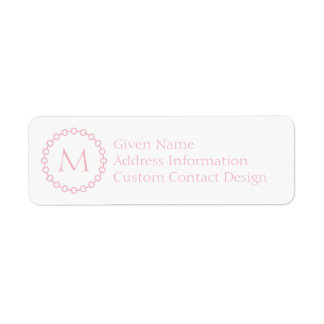 Pink Chain Link Ring Circle Monogram Return Address Label