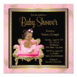 "Pink Chair Lace Pearls Ethnic Girl Baby Shower 5.25"" Square Invitation Card"