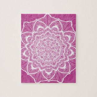 Pink Chakra Blossom, boho, new age, spiritual Jigsaw Puzzle