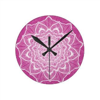 Pink Chakra Blossom, boho, new age, spiritual Round Clock