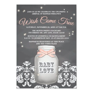 """Pink Chalkboard Firefly Mason Jar Baby Shower 5"""" X 7"""" Invitation Card"""