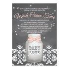 Pink Chalkboard Firefly Mason Jar Baby Shower Card