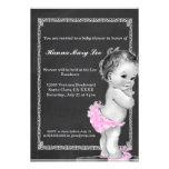Pink Chalkboard Vintage Baby Shower Invitation