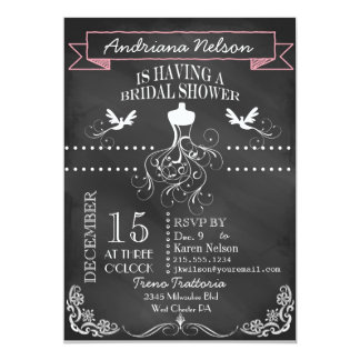 Pink Chalkboard Wedding Shower Invitation