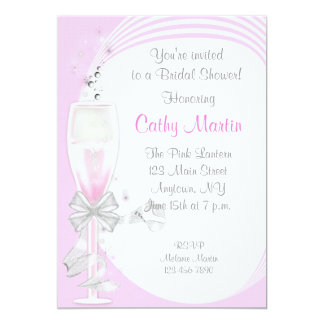 "Pink Champagne 5"" X 7"" Invitation Card"