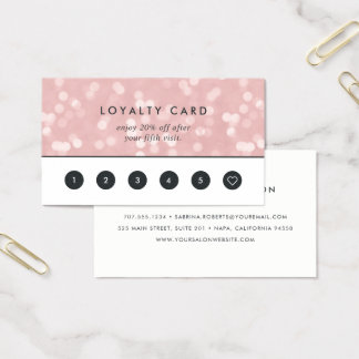Pink Champagne Bokeh | Loyalty Business Card