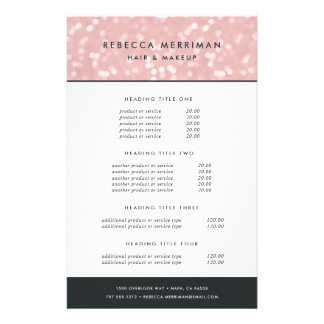 Pink Champagne Bokeh Pricing & Services Flyer