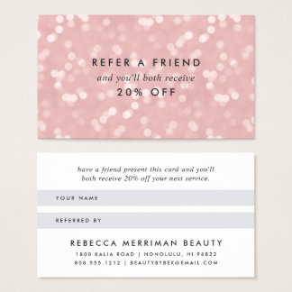 Pink Champagne Bokeh Referral Business Card