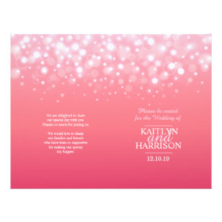 Pink champagne bubble wedding programme flyers