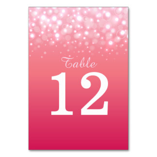 Pink champagne bubbles Wedding table numbers