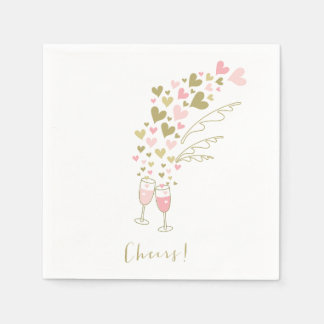 Pink Champagne Cheers Engagement Wedding Party Disposable Napkins