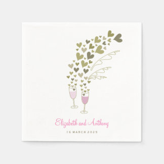 Pink Champagne Cheers Golden Hearts Wedding Party Disposable Napkins