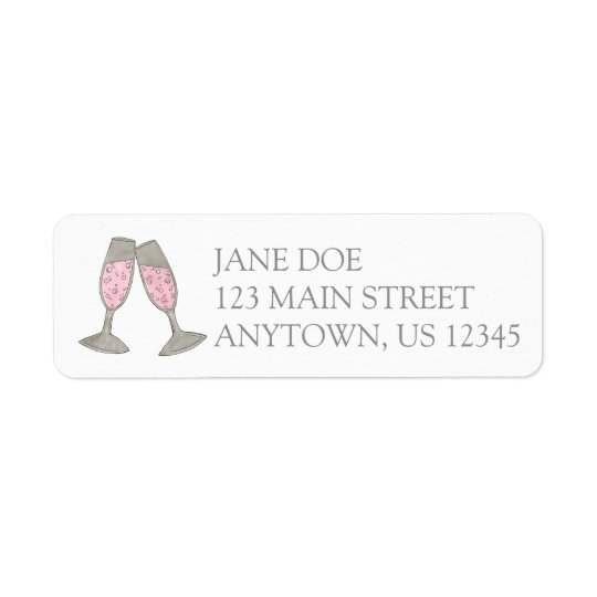 Pink Champagne Glass Personalized Address Label