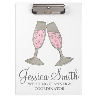 Pink Champagne Glass Wedding Planner Clipboard