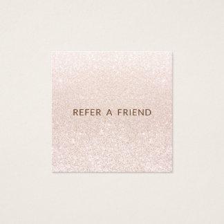 Pink Champagne Glitter Salon Customer Referral Square Business Card
