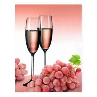Pink champagne postcard