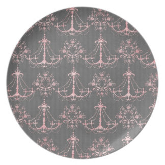 pink chandelier damask on deep gray plate