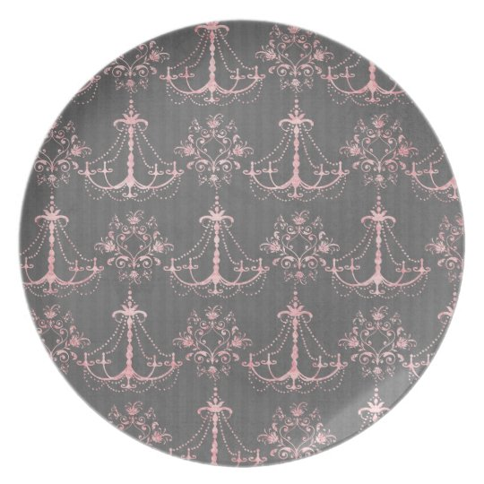 pink chandelier damask on deep grey plate