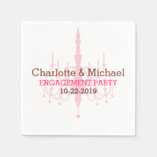 Pink Chandelier Engagement Party Napkins Paper Napkins