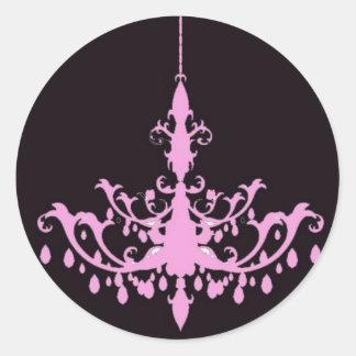 Pink Chandelier on Black Sticker