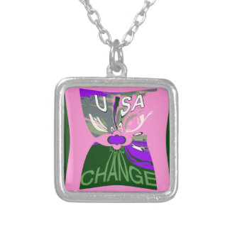 Pink Change  Hillary USA We Are Stronger Together. Silver Plated Necklace
