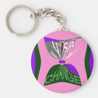 Pink Change  USA pattern design art Basic Round Button Keychain