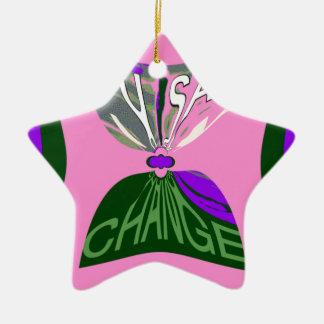 Pink Change  USA pattern design art Ceramic Star Ornament