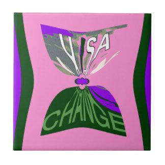 Pink Change  USA pattern design art Ceramic Tile