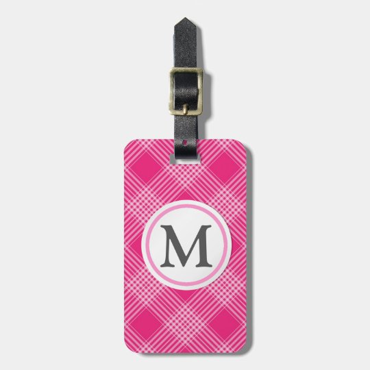 Pink Checked Luggage Tag