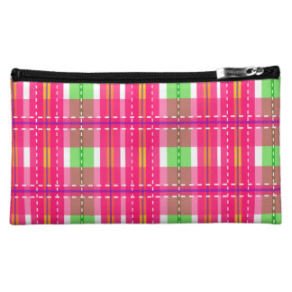 Pink Checker Plaid Medium Cosmetic Bag