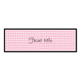 Pink Checkerboard Fabric Background Template Mini Business Card