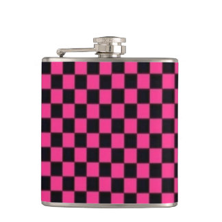 Pink Checkerboard Vinyl Wrapped Flask
